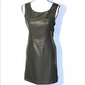 Faux leather and mesh dress